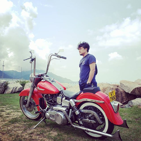 Max with motorcycle